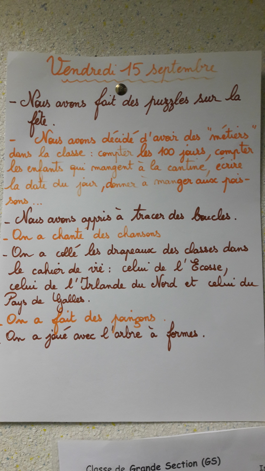 Journal des parents de la classe d'Isabelle